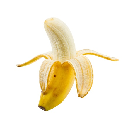 peeled banana: small lunch box sized banana peeled and isolated on a white background Stock Photo
