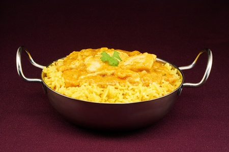 Chicken korma a mild sweet indian curry popular with people who are not used to spicy hot eastern food
