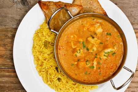 curry bowl: Chicken Korma a popular indian curry dish and favourite with people not keen on spicy food