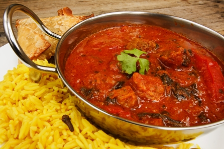 Beef rogan josh an indian dish with tomato and spices a popular curry photo