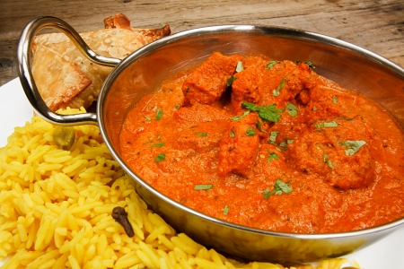 Chicken Tikka masala a popular indian curry developed in Europe as a fusion of Eastern food and modern western tastes 写真素材
