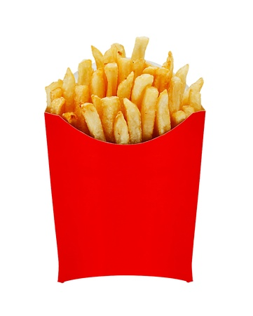 frites: French Fries or Chips originally called pommes frites and more recently named freedom fries in america in a serving carton Stock Photo