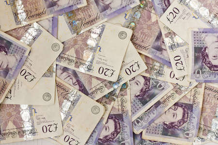 monies: Background of English twenty pound notes