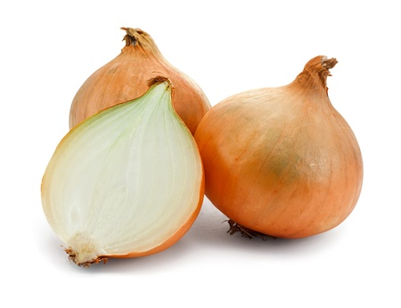 fresh onions on a white background a common vegetable Stock Photo