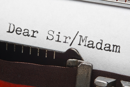 Dear sir or madam typed on a vintage typewriter, great concept for letter writing or sending unsolicited emails or correspondence