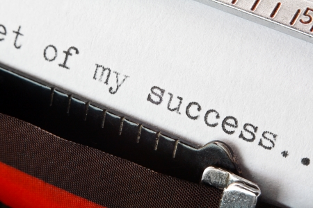 The secret of my success business concept typed phrase on a retro typewriter, great concept for storytelling, business plans, presentations, or blogs