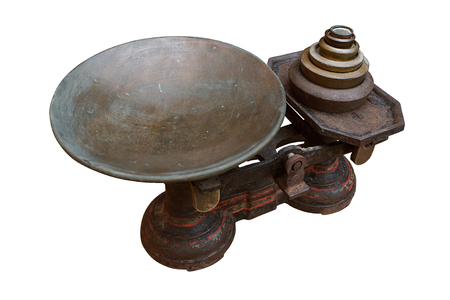 lb: Vintage metal scale with complete set of stacked vintage metal weights for the sale of produce or to measure quantities when baking