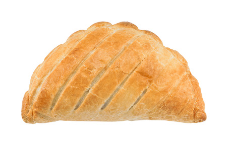 Traditional National Dish of Cornwall a Cornish Pasty isolated against a white