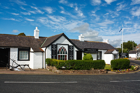 The Old Blacksmith Shop at Gretna Green, Scotland, traditionally made famous in the 18th century as a venue for elopement marriages and still offering wedding packages today  写真素材