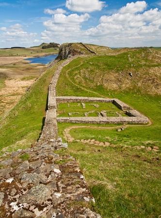 Milecastle 39 Teil der Hadrians Wall in Northumberland, an der schottischen Grenze Standard-Bild - 24174399
