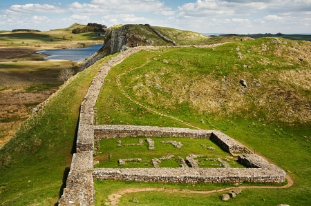 hadrian: Milecastle 39 part of Hadrians Wall in Northumberland on the Scottish Border Stock Photo