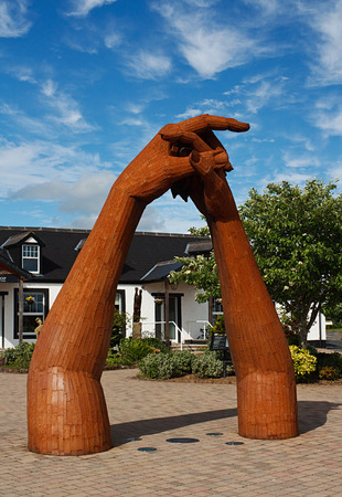 ancient blacksmith: The sculpture in the courtyard at the Old Blacksmith Shop at Gretna Green, Scotland, traditionally made famous in the 18th century as a venue for runaway marriages