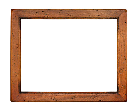 Flat plain wooden picture frame isolated on a white background photo