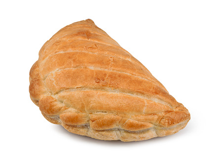 A Single Cornish Pasty isolated against a white background