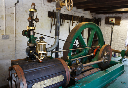 steam engine: Josephine a steam engine restored by Fred Dibnah used to power the workings of local Wetheriggs pottery near Penrith  Which has now closed  Stock Photo