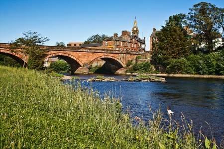 dumfries and galloway: The River Annan, Annan Bridge and Town Hall, Dumfries and Galloway