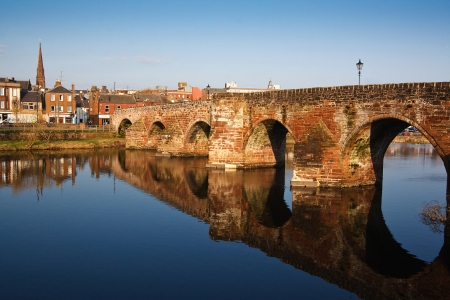 Devorgilla Bridge crossing the River Nith in Dumfries Stock Photo