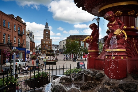 robert bruce: The fountain in Dumfries Town Centre