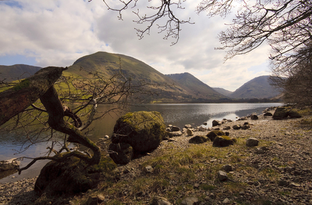 fells: View over Brotherswater towards Kirkstone Pass in The English Lakes Stock Photo