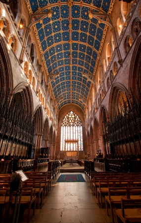 priory: Interior of Carlisle Cathedral showing the ornate ceiling
