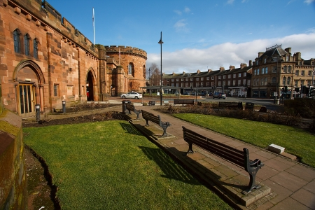 Bright sunny morning at the cresent in the great border city of historic carlisle