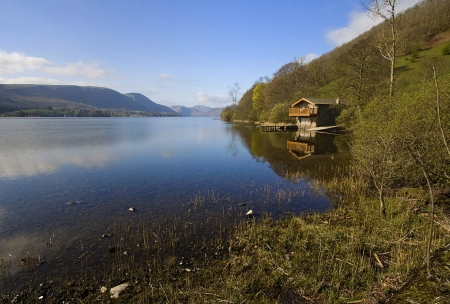boathouse: The iconic boathouse at Knotts End with a stunning lakeside location on ullswater in the English lakes