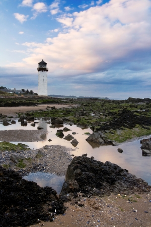 scottish: Sunset at Southerness Lighthouse, Southerness Point, Dumfries and Galloway  The second oldest lighthouse in Scotland  Stock Photo