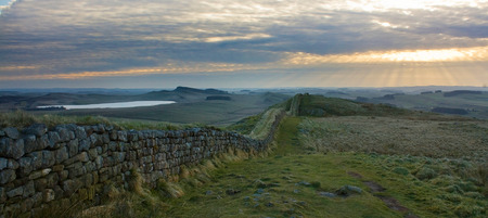 hadrian: Moody panorama of Hadrians Wall in Northumberland on the Scottish Border