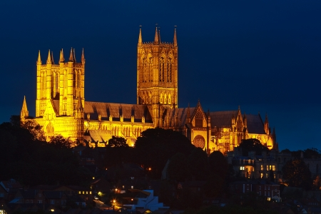 Lincoln Cathedral illuminated against the night sky Stock Photo