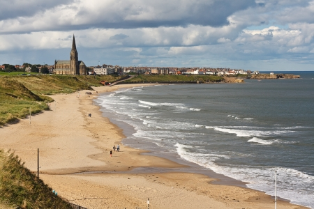 slipway: Long Sands South Beach at Whitley Bay a thriving tourist destination near tynemouth and Newcastle upon Tyne