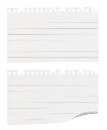 Torn pieces of notepaper one with a curled edge isolated against a white background