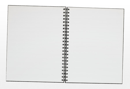 Double page spread empty ring bound note pad with copy space. Clipping path included for easy selection and incorporation into DPS layout photo