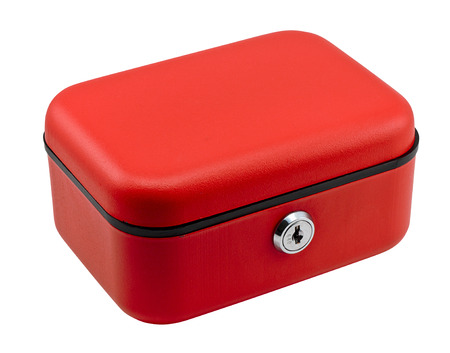 custodian: Closed red petty cash box often used in offices to keep a small amount of working currency for small financial transactions.