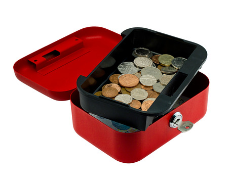 cash box: Open red petty cash box showing money inside, often used in offices to keep a small amount of working currency for small transactions.