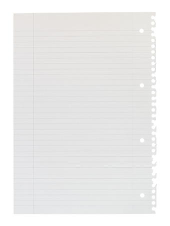 A4 page of notepaper torn from spiral bound lined notepad isolated against a white background. Standard-Bild
