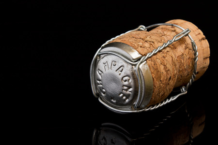 prestige: champagne Cork a great symbol for high society or concept for prestige or upper class status Stock Photo