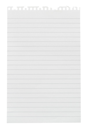 Sheet of lined note paper torn from a note pad isolated against a white background photo