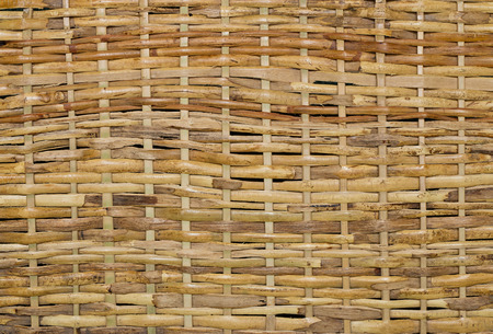 Woven wood wicker fence panel suitable for crafts, picnic or gardening background or wallpaper photo