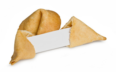 good fortune: Chinese fortune cookie with blank paper strip for your own good luck message
