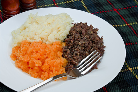 robert: Traditional Scottish haggis, neeps and tatties also known as a burns supper  Stock Photo
