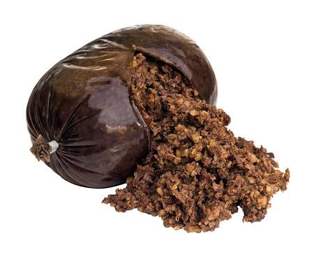 carne picada: Haggis una salchicha escocesa tradicional hecho de ovejas estómago y lleno de ovejas hígado, los pulmones y el corazón, la avena, la cebolla, el sebo y el condimento
