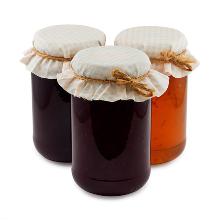 bake sale: Traditional homemade Fruit Jam jars a popular fruit conserve often sold at state fairs and church bake sales