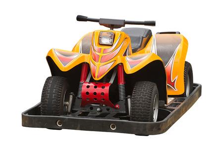 carritos de juguete: Childs del coche de parachoques encuentra a menudo en las ferias para que los niños pueden disfrutar de la conducción. Foto de archivo
