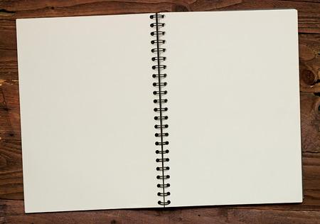 Spiraal gebonden plakboek dubbele pagina spread Stockfoto