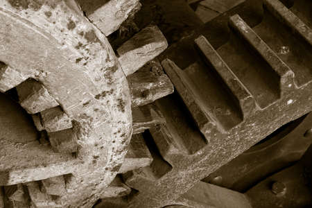 Ancient metal and wooden cog system  photo
