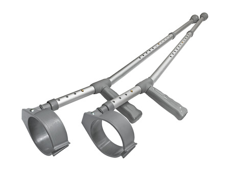 forearm: Pair of Hospital issue crutches for help when you have an orthopedic injury and are giving it time to heal