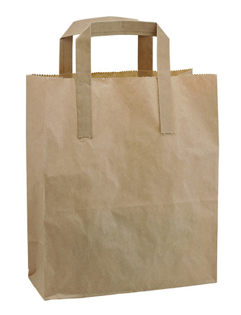 often: Brown paper bag isolated against a white background, often used at takeaways or grocery shops