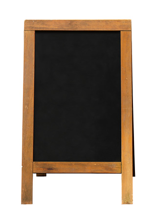 roadside stand: Blackboard mounted in an A Frame signboard also known as a sandwich board with chalkboard area blank for insertion of your own custom message