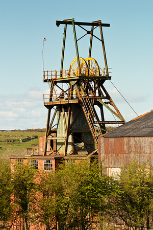 boring frame: Pit head winding gear iconic colliery or mine workings Stock Photo