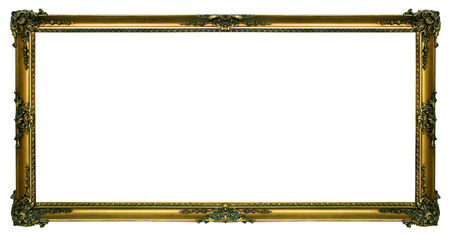 Large gold Gilded picture frame in a wide rectangular format isolated on a white background. Imagens